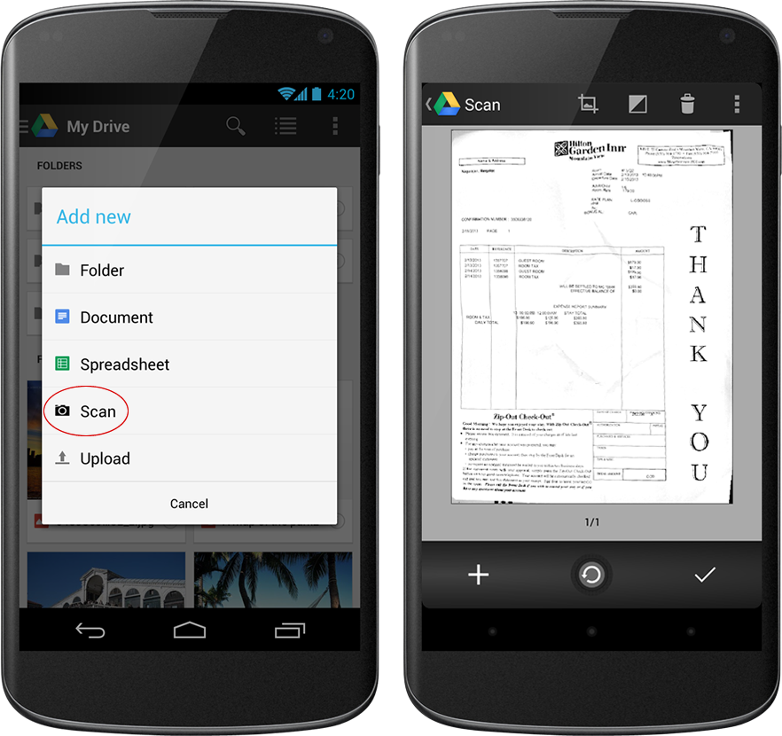 Google Drive for Android: Card-Style Grid View, Document