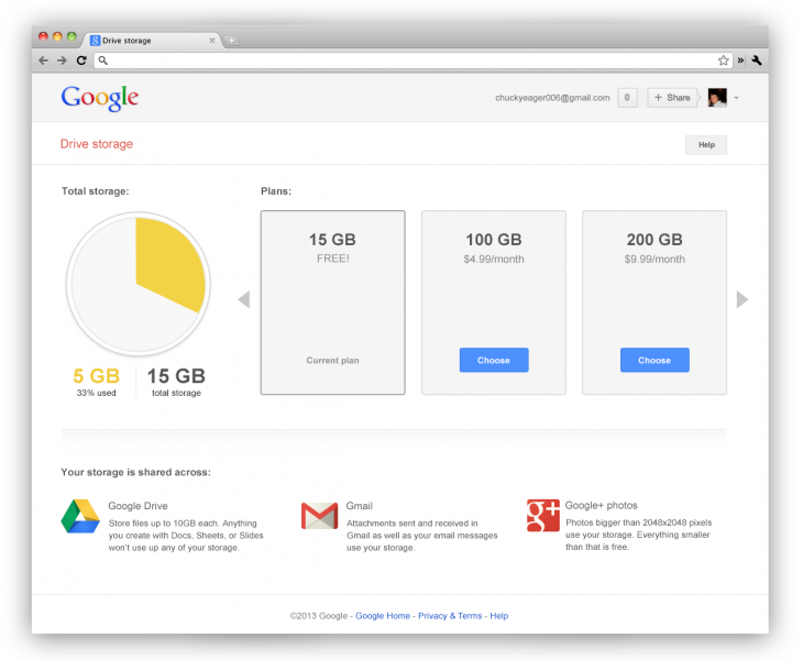 screenshots 0000 consumer 730x600 Google now offers 15GB of shared storage for Drive, Gmail, and Google+ Photos, Apps customers get 30GB
