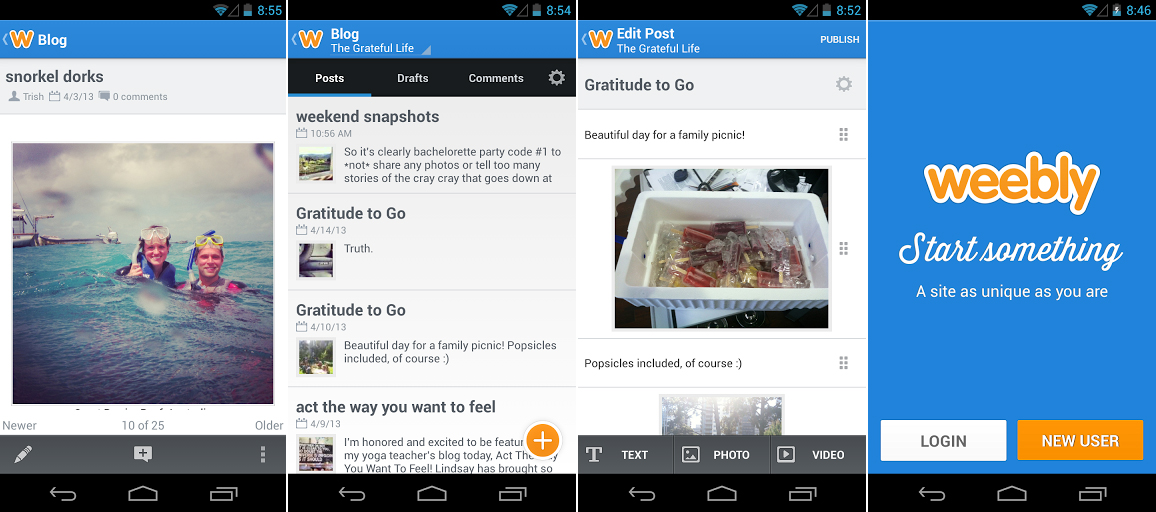 Weebly launches its android app mobile and html5 site creator for Home builder app