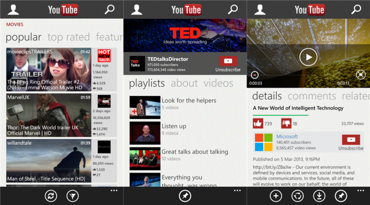 youtube wp8 730x405 YouTube for Windows Phone 8 completely redesigned with pinning, playlist, child safety features, and more