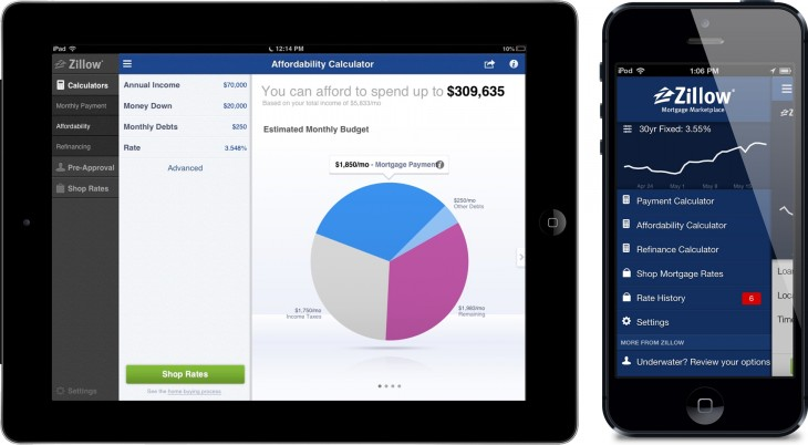 zillow 730x402 Zillow revamps its mortgage marketplace app for iOS, adding negative equity refinancing options
