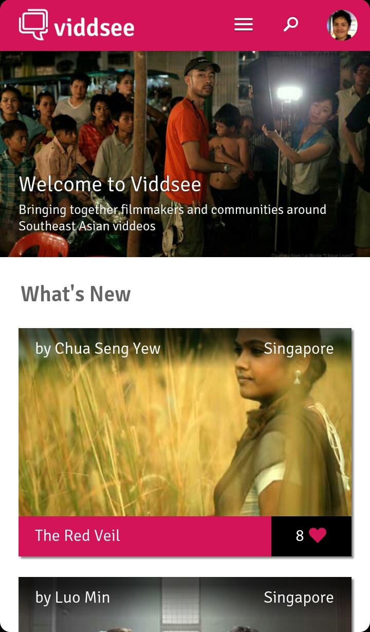 Viddsee mobile homepage