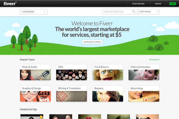 101320 fiverr homepage   above the fold  1 xlarge 1370296484 730x487 Fiverr launches its refreshed microtask marketplace with analytics, to do list and more