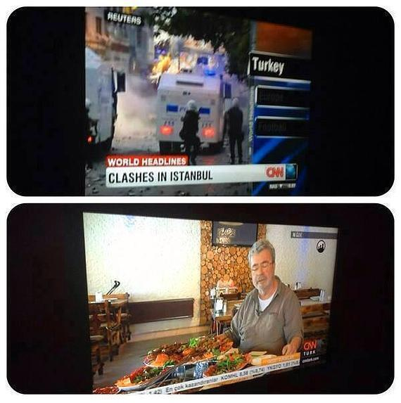CNN Turkey ran cooking shows, while CNN International covered the protests.