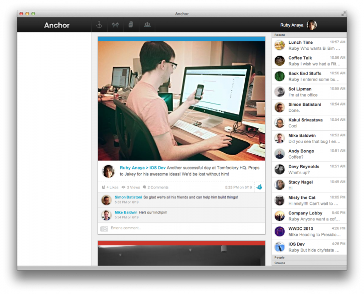Feed 730x591 Tomfoolery launches Anchor, its consumer app to help coworkers be more social