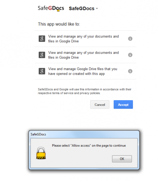 SafeGDocs permissions 520x596 Worried about the safety of your Google Docs? Don't, SafeGDocs for Firefox has you covered