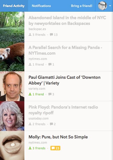 "A closer look at Potluck's ""Friend Activity"" stream."