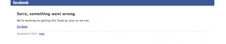 Facebook error screenshot