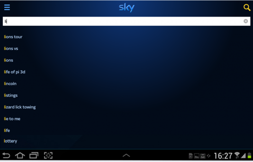 Sky Plus App - Android Search Lions Rugby
