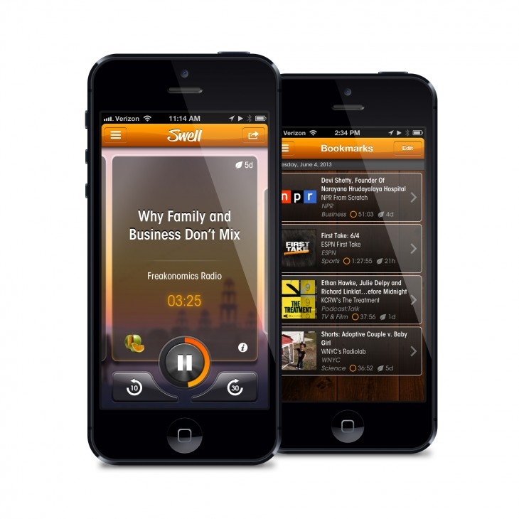 Swell iPhone pair 730x730 Swell takes its Pandora for talk radio iOS app out of beta and launches to the public