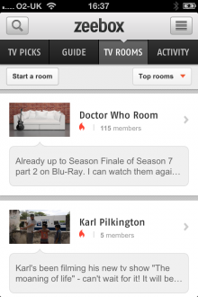 b1 220x330 Zeebox for iOS gets new TV Rooms feature, letting users discuss their favorite shows in public or private