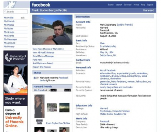 Facebook, back in 2006 with plain text entries