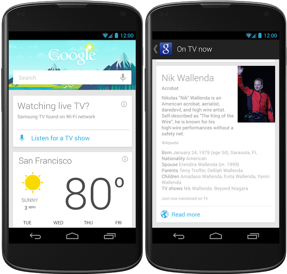 google now android Google Now for Android gets cards for TV shows and offers, voice action to play music, and more