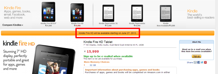 kindle page india 730x248 Amazon will sell its Kindle tablets and e readers online in India from June 27