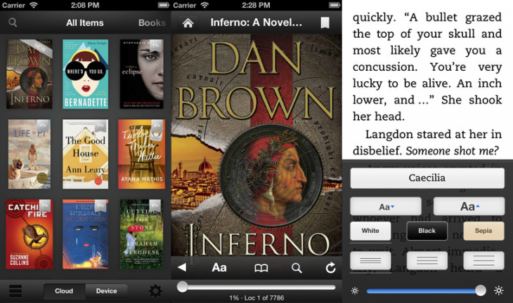 kindle ios 730x432 Amazons Kindle for iOS gets line spacing options, multipage highlights, textbook note filters, and more