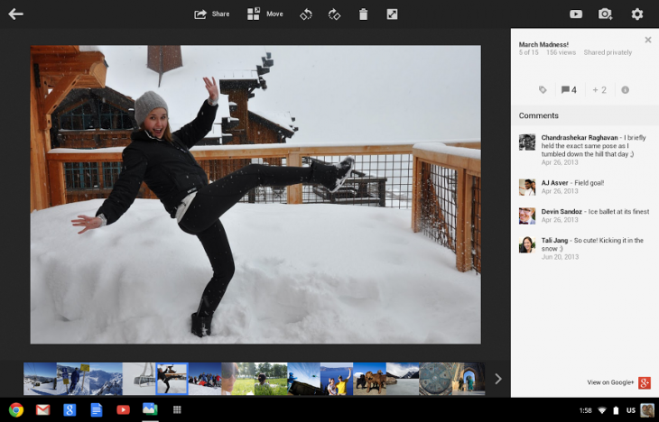 lightbox 730x468 Google launches Google+ Photos app for the Chromebook Pixel, says support for other Chromebooks coming soon