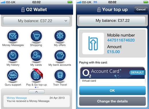 o2 wallet O2 Wallet for iOS, Android and BlackBerry now lets users top up any Pay & Go number in the UK