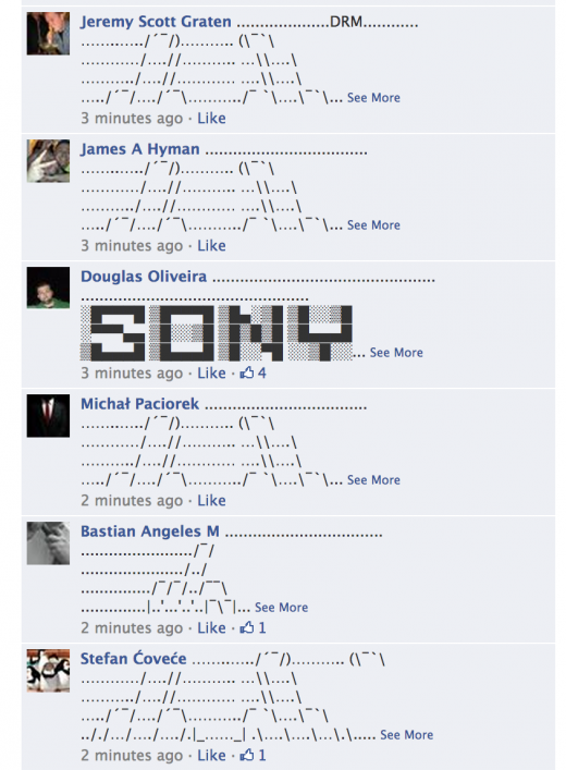sony ascii 520x707 Microsofts Xbox Facebook page has turned into an epic ASCII art flame war