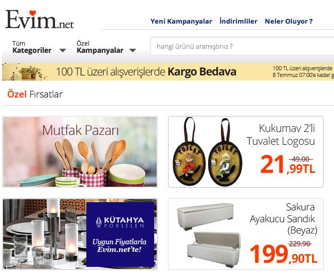 Evim.net Evinizin çok özel alışveriş kulübü