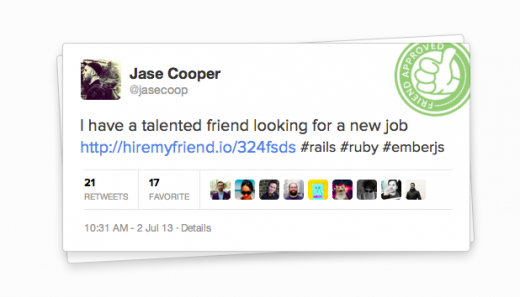 HMF Tweet 520x297 Want a new job but don't want to alert your current boss? Hire My Friend may well be for you
