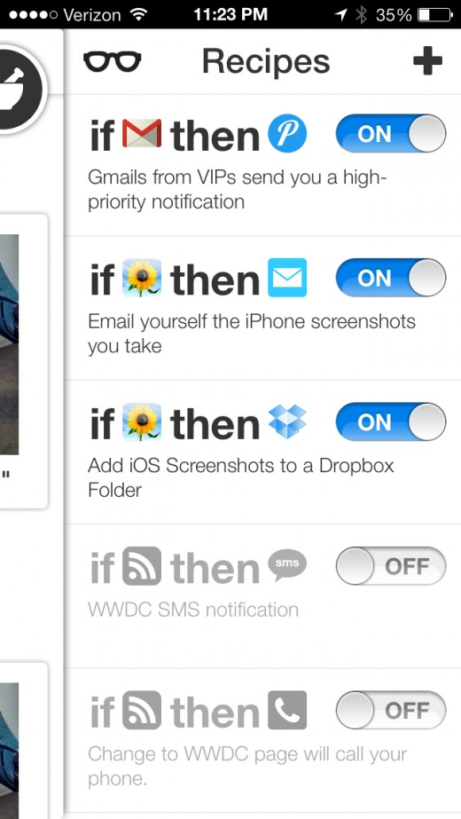 July 10  2013 at 1123PM 3 520x923 IFTTT comes to iPhone with a crisp app featuring native Photos, Reminders and Contacts channels