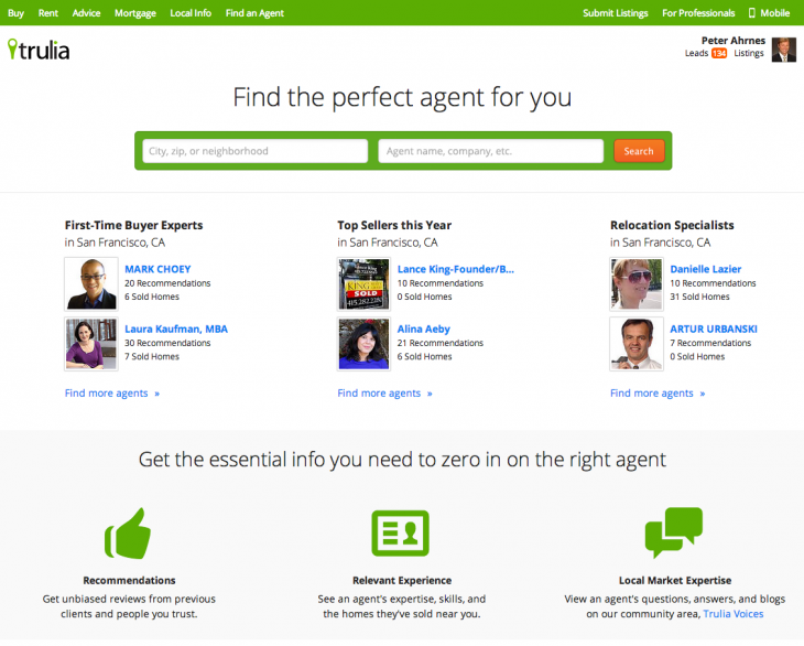Landing Page 730x586 Trulia revamps its Find An Agent option so buyers can find real estate pros by expertise and more
