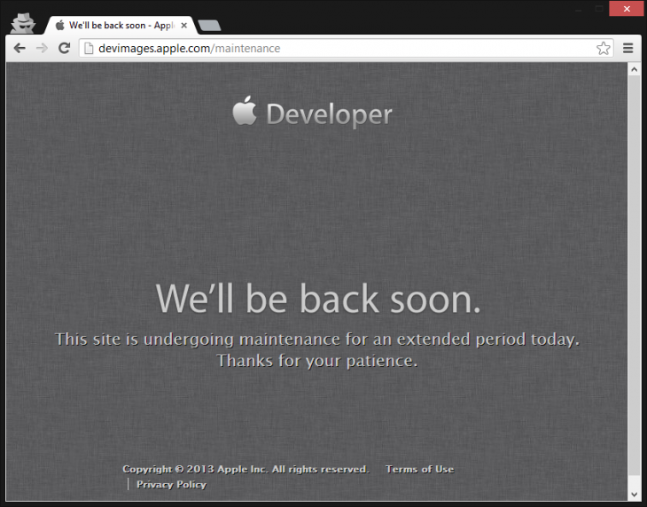 apple dev center down 730x572 Apples Dev Center has been down for over 24 hours, keeping developers from downloading SDKs and iOS 7 beta [Update]