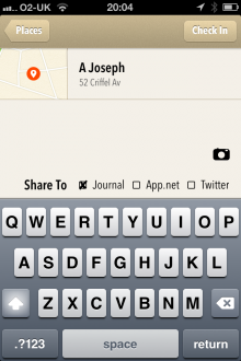 e2 220x330 Ohai for App.net is a simple journal app to log your check ins on your iPhone