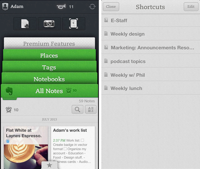 evernote1 Evernote for iOS updated with shortcuts, content discovery features and integration with Skitch