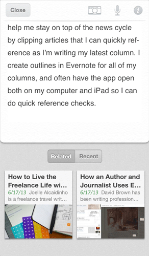 evernote3 Evernote for iOS updated with shortcuts, content discovery features and integration with Skitch