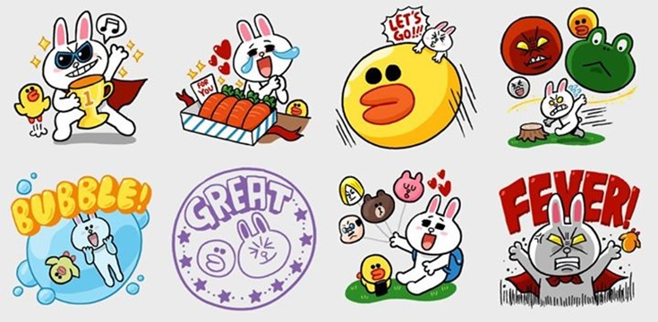 Image of Line plush toys and stickers via Line