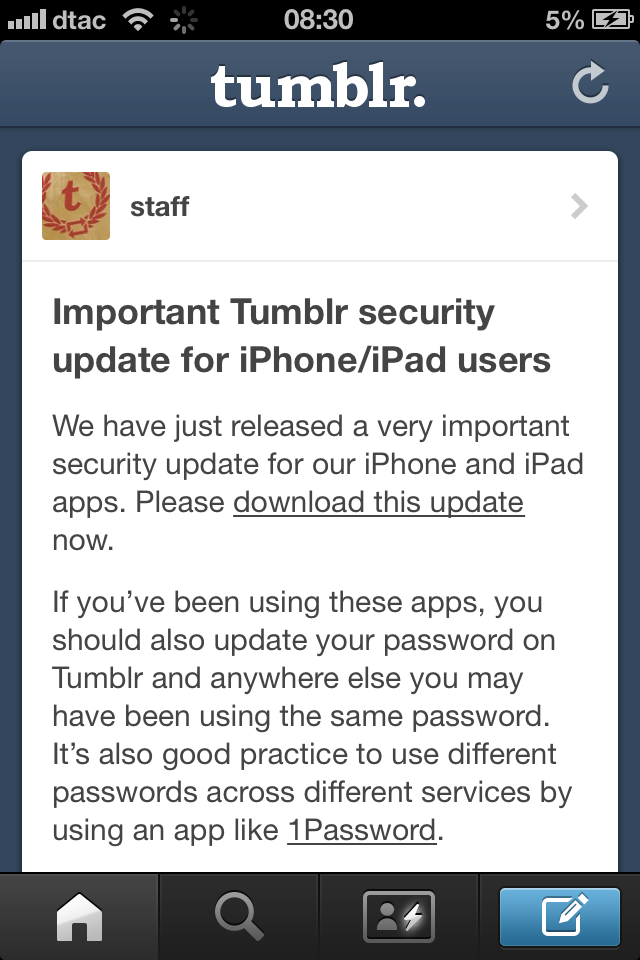 Tumblr Updates iOS App with ' 'Very important' Security Fix