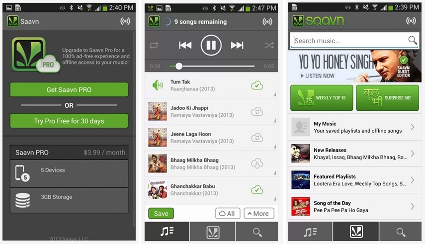 Saavn Pro Comes to Android Devices