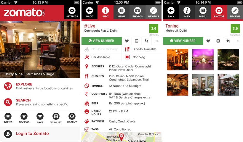 Restaurant guide zomato adds social features continues for Restaurant guide