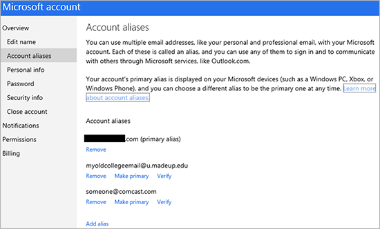 Indians Living In Usa Email Addresess Mail: Microsoft Simplifies Managing Account Aliases