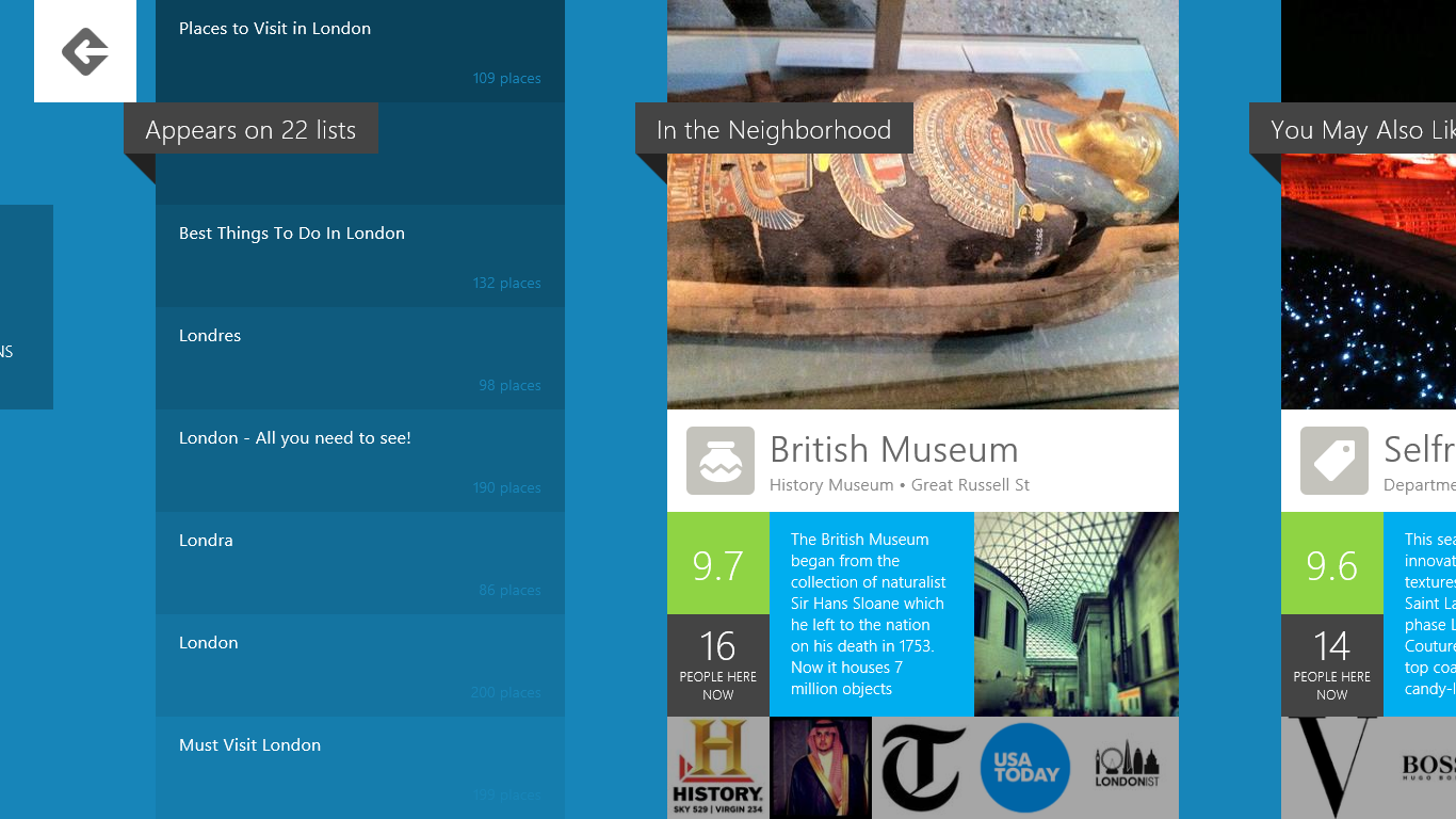 4q MMWorld similar Hands on with Foursquares gorgeous Windows 8 app: Shunning checkins for reviews and discovery