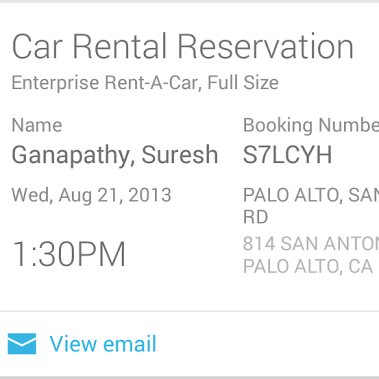 CarRentalsFinal Google Now gets new cards to handle car rentals, concert tickets, commute sharing and more