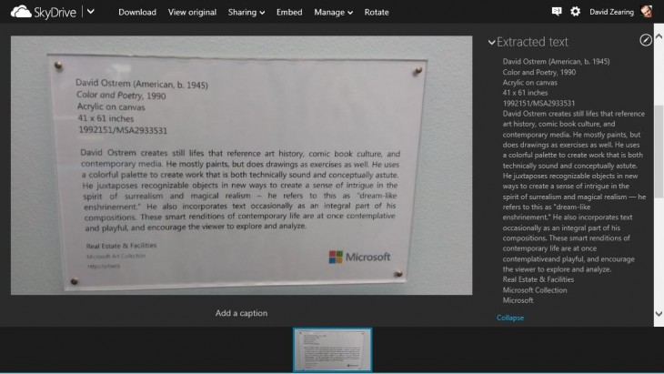 Extracted text from art label 39C9B8C7 730x411 Microsoft taps OCR to help you extract text from photos on SkyDrive
