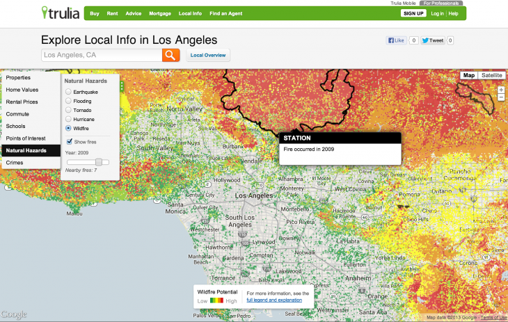 LA Wildfire 2009 730x463 Trulia updates its natural hazard maps to show hurricane, wildfire, and tornado risks to homes