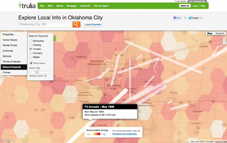 OKCity Tornadoes May 730x461 Trulia updates its natural hazard maps to show hurricane, wildfire, and tornado risks to homes