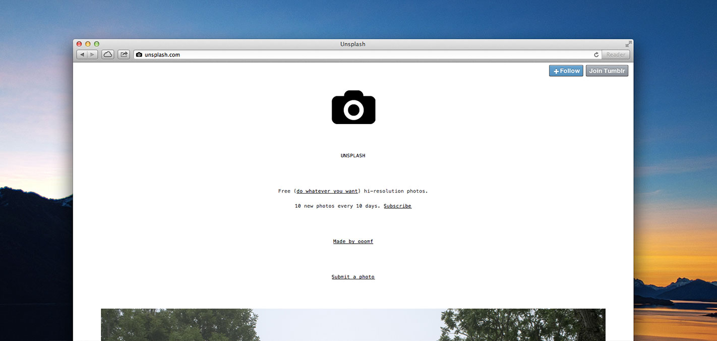 Unsplash is a site full of free images for your next splash page