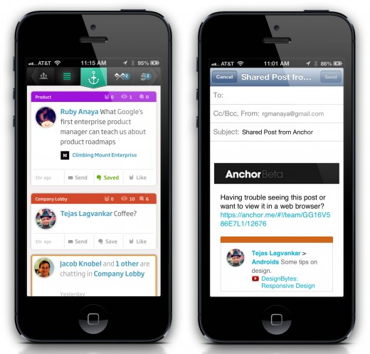 anchor 520x497 Tomfoolerys Anchor brings Evernote and email sharing into its Facebook for the workplace app