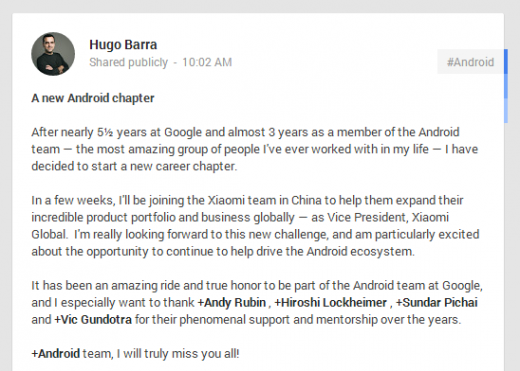 barra 520x371 Xiaomis hiring of Hugo Barra shows ambitious plans for its MIUI Android customization software