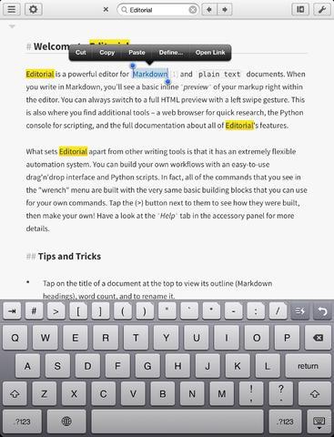Editorial writing app iPad