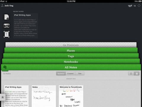 Evernote writing app iPad