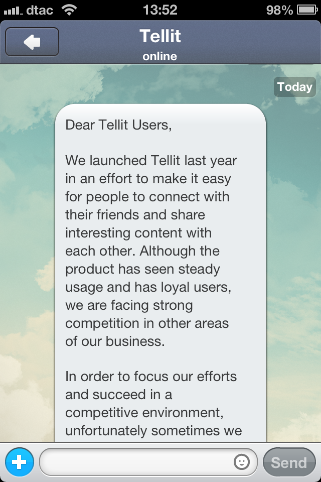 image 1 Japanese gaming giant GREE continues cost cutting with closure of messaging app Tellit