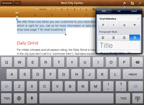 Pages writing app iPad