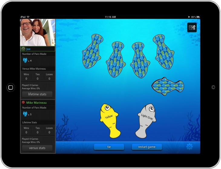 Go Fish ustyme 730x557 Ustyme launches as a video calling iPad app for playing games and reading childrens books together
