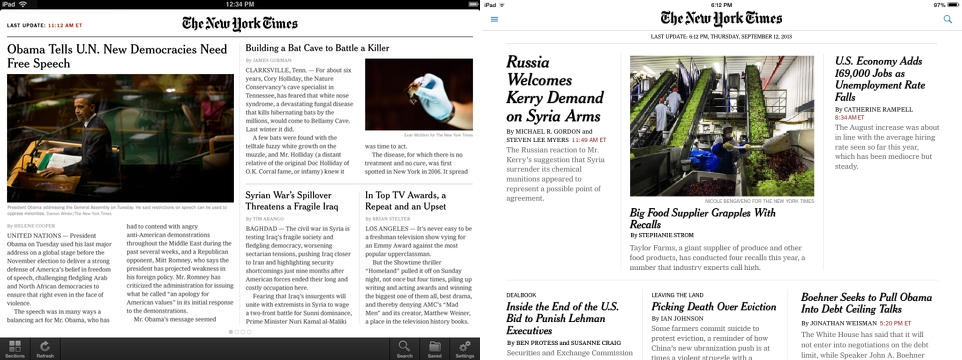NYT iOS7 iPad Before and after: The best iOS 7 app redesigns