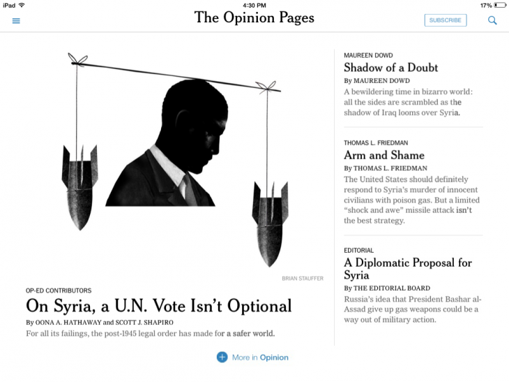 NYTopinion 730x547 The New York Times updates its apps for iOS 7, with cleaner design and AirDrop for article sharing